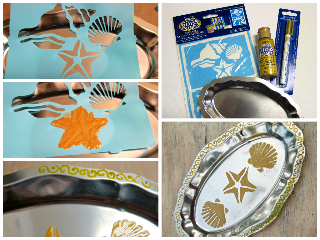 silver tray DIY Summer Serving Tray   By Morena of Morenas Corner