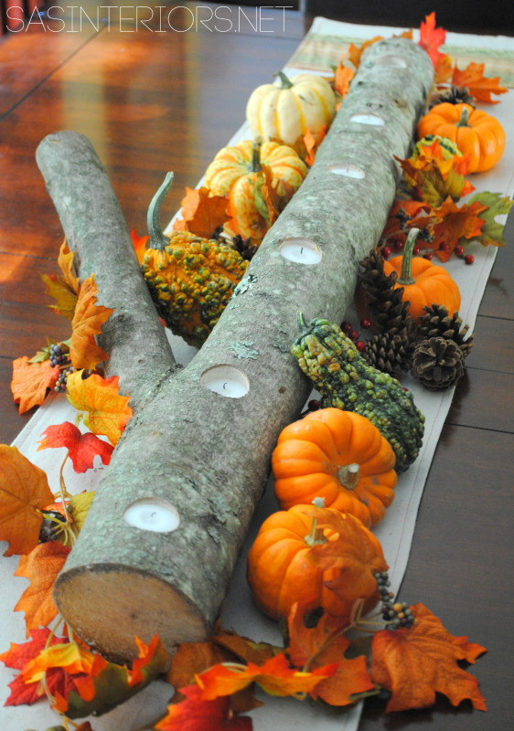 Log Centerpiece 1 562x800 12 DIY Decoration Ideas for the Thanksgiving Table