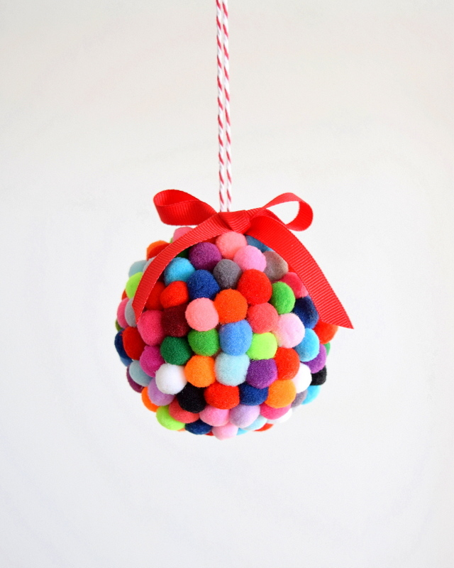 DIY Pom Pom Ornament northstory 12 Fast and Easy Homemade Christmas Ornaments