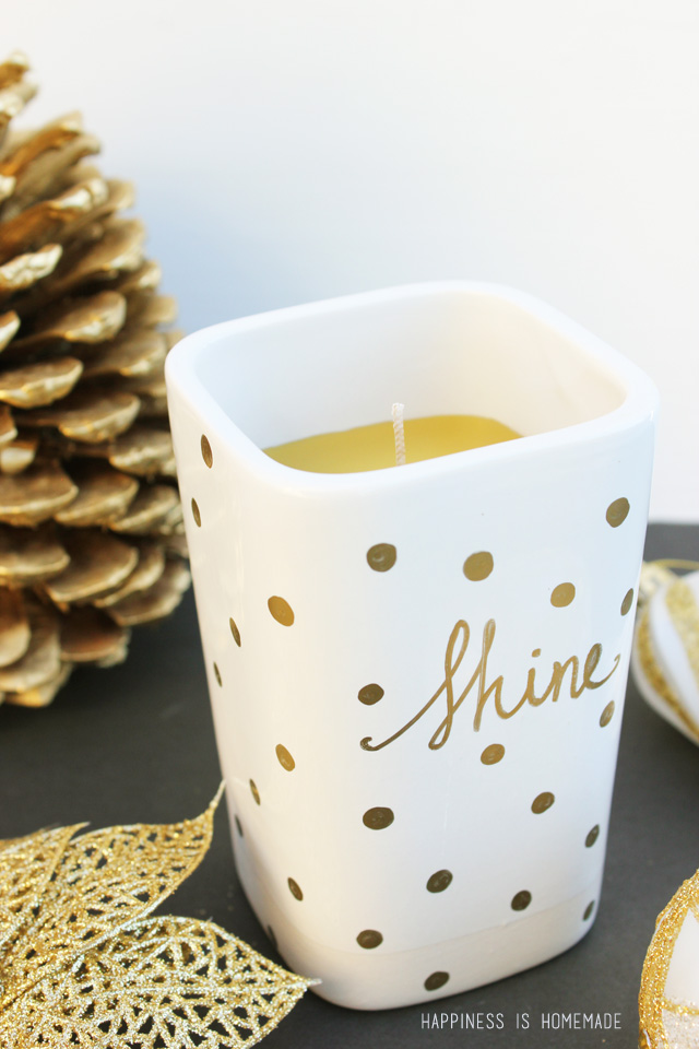 Easy DIY Gold Sharpie Candle great holiday gift idea 11 Personalized Gifts You Can Make Right Now