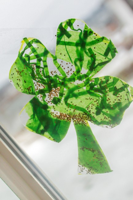 ShamrockWindowCraft 5 St. Patricks Day Decorations You Can Make with the Kids